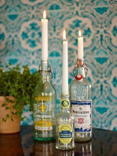 Sanna & Sania: Flaskor som ljusstakar