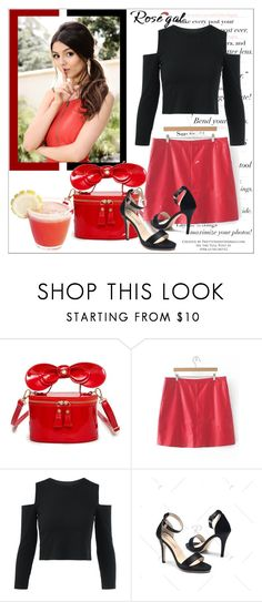 """""""rosegal red skirt"""" by sabine-rose ❤ liked on Polyvore"""