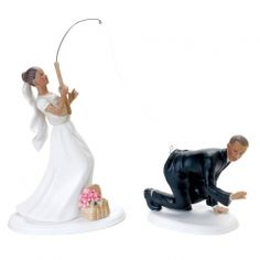 """Wedding Cake Topper - """"Gone Fishing"""" Wedding Cake Topper. Humorous fishing wedding cake topper features a groom being hooked by his bride. Fishing Wedding Cake Toppers, Bride And Groom Cake Toppers, Wedding Topper, Fishing Wedding Themes, Funny Wedding Cakes, Themed Wedding Cakes, Funny Cake Toppers, African American Brides, Brides Cake"""
