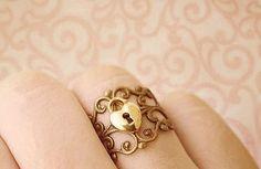 gold heart lock ring