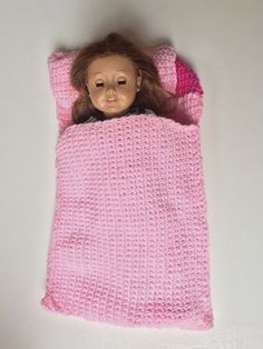 "Free crochet pattern for 18"" Doll Sleeping Bag & Pillow.  CLICK Visit link to read more"