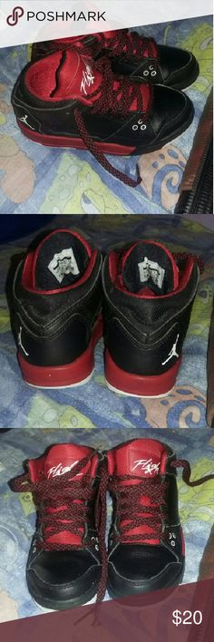 Red&black nike Red& black Nike(flight) normal sign of wear on them still in very good condition Nike Shoes Sneakers
