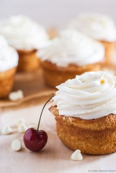 fresh Cherry Rhubarb Cupcakes with White Chocolate Frosting | A Cookie Named Desire