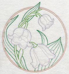 RP: Machine Embroidery: Elegant Flower Circle - Lily of the Valley (Vintage)