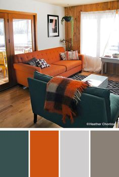 10 Stylish Green Color Combinations and Photos Yellow Things v yellow pill 2530 Decor, Orange Sofa, Interior, Blue Living Room, Home, Green Rooms, Orange Decor, Living Room Orange, Orange Couch