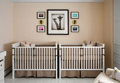 two cribs in one nursery  Broder-Frauenglass-Interiors