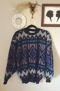 Vintage 80's Cosby sweater, Geometric patterned sweater, Oversized Hipster Sweater, Retro Sweater