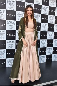 Payal Singhal New Arrivals Collection : BLUSH SILK BUSTIER AND SKIRT WITH EMBROIDERED OLIVE GREEN CAPE