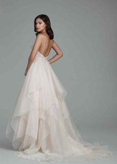 Style 2805 Tara Keely by Lazaro bridal gown - Rose Organza bridal ball gown, ballerina V neckline with spaghetti straps, sequined lace bodice with crisscross pleating detail, handkerchief layered organza skirt and chapel train. Wedding Dress Pictures, Stunning Wedding Dresses, Wedding Dress Styles, Dream Wedding Dresses, Designer Wedding Dresses, Bridal Dresses, Wedding Gowns, Lace Wedding, Elegant Gowns