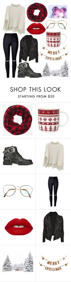 """""""3 Days Until Christmas"""" by amsmith0107 ❤ liked on Polyvore featuring Express, Laura Ashley, FAUSTO PUGLISI, Benetton, WithChic, Lime Crime, Rick Owens, Bloomingville, Christmas and scarf"""