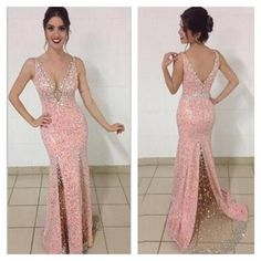 Pink Prom Dress,Sexy Prom Dress,Mermaid Prom Dress,V-neck Prom Dress,Newest…