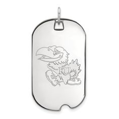 925 Sterling Silver Officially Licensed University College of Kansas Large Dog Tag (47 mm x 24 mm). Genuine Sterling Silver Metal with Authentic Stamp. Officially Licensed Product. 925 Sterling Silver. Free Gift Box with Every Purchase. 30 day No Haggle Stress Free Returns.
