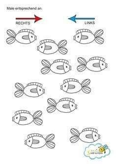 A learning aid for your child, All fish that shove to the right .- Eine Lernhilfe für dein Kind, Alle Fische die nach rechts schwimmen müssen rot… A learning aid for your child, all fish that swim to the right must be painted red, the others blue. Writing Practice Worksheets, Kids Math Worksheets, Coding For Kids, Math For Kids, Visual Perception Activities, Kindergarten Portfolio, Preschool Writing, Learning Through Play, Kids Education