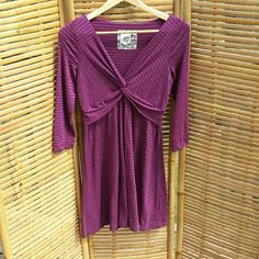 """Anthropologie Lilka dress Fuchsia and grey stripped 3/4 sleeve dress. Length comes to just above the knee on me (I'm 5'6"""").  In excellent used condition! Anthropologie Dresses"""