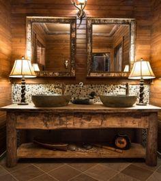 rustikale badm bel aus massivholz badewanne in. Black Bedroom Furniture Sets. Home Design Ideas