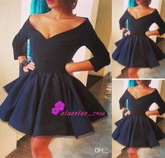 Simple Style Black Satin Mini 2016 Cocktail Dresses with Off The Shoulder Long Sleeves Plus Size Short Homecoming Party Ball Gowns Cheap Online with $101.31/Piece on Xiaoxiao_2016's Store   DHgate.com