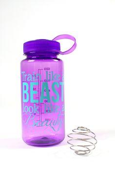 Train Like a Beast, look like a beauty Shaker Bottle in purple, writing in aqua. Super love!!