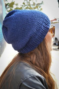 Navy Slouch Grunge Beanie Vegan Friendly Yarn, Women's Men's Knitted Slouchy Hat, Hipster Knit Hat, Fall Winter Fashion Accessories