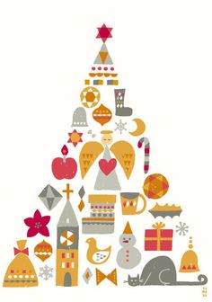 Mod Christmas Tree by illustrator Suzuki Tomoko Christmas Flyer, Christmas Poster, Merry Christmas Card, Noel Christmas, Merry Christmas And Happy New Year, Vintage Christmas, Christmas Crafts, Christmas Decorations, Xmas