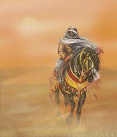 Desert Arabian Horse Bedouin Rider Cross Stitch Pattern