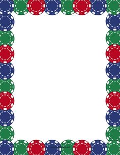 Great For Game Tournaments This Printable Gambling Border Is Decorated With Colorful Poker Chips