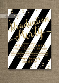 Gold & Black Graduation Party Invitations Gold Glitter and black and white stripes with confetti glitter by digibuddhaPaperie, $20.00
