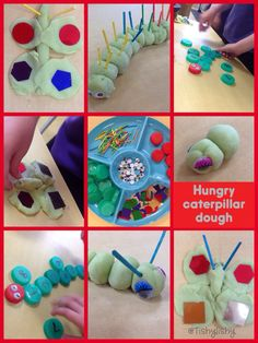 We have been reading the story The Very Hungry Caterpillar by Eric Carle. Here are our crawling caterpillars and beautiful butterflies. Hungry Caterpillar Activities, Very Hungry Caterpillar, Eyfs Activities, Activities For Kids, Playdough Activities, Activity Ideas, Preschool Ideas, Preschool Crafts, Montessori Color