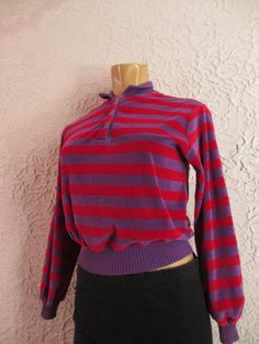 70's Vintage Striped Cotton Velour Sweater Top by PaisleyBabylon