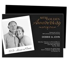 Wedding Anniverary Invitations Templates : Golden 50th Wedding Anniversary Party Invitation Template