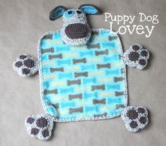 Puppy Dog Lovey Blanket - Free Crochet Pattern