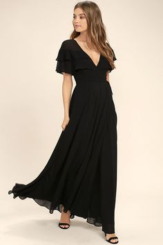Lulus Exclusive! The birds will sing your praises when you glide by in the Wonderful Day Black Wrap Maxi Dress! Sheer Georgette forms ruffled short sleeves, wrapping bodice (with snap button), and tying sash belt. Wrapping detail carries into a front slit on the full maxi skirt.
