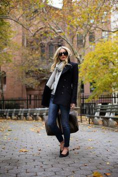 Preppy fall style inspiration via @Blair Eadie // Atlantic Pacific : stripe tee + cropped denim + ballerinas + navy pea coat + scarf + personalised @Louis Vuitton Official bag