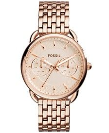 Fossil Women's Tailor Rose Gold-Tone Stainless Steel Bracelet Watch 35mm ES3713