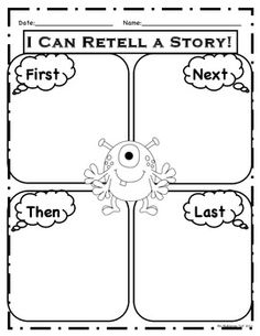 """""""First, Next, Then, Last"""" monster themed graphic organizers."""
