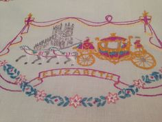 Vintage Hand Embroidered Linen Tablecloth QEII REGAL HORSE DRAWN CARRIAGES