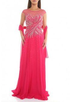 A-Linie Kurzarm Abendkleid Stella Pink