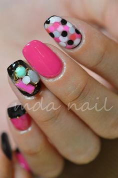 hot pink with black trims