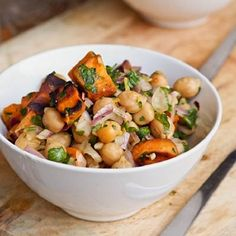 Light yet hearty - sweet potato and chickpea salad perfect for a weeknight summer meatless meal (gluten-free and vegan). Chickpea Salad Recipes, Vegetarian Recipes, Cooking Recipes, Healthy Recipes, Vegan Vegetarian, Free Recipes, Healthy Meals, Easy Recipes, Healthy Food