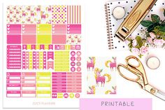 Unicorn Printable Planner Stickers Pink And Yellow by JuicyPlanner #unicorn #pastel #pinkandyellow #planner #erincondren #ec