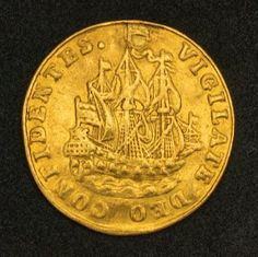 Netherlands, Holland - 6 Stuivers Gold Coin (Scheepjeschelling), Mint Year 1749. Obverse: Dutch galleon at sea sailing right.