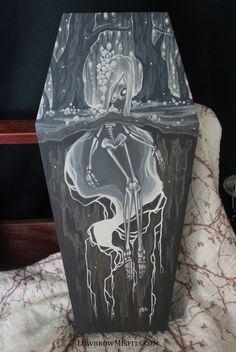 Fertile Soils Blight original painting -Lowbrow misfits White Stag Art Creepy Cute, 2d Art, Dark Fantasy Art, Misfits, Wood Paneling, Fertility, Coffin, Original Paintings, Aesthetics
