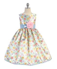 Blue & Yellow Floral Bow A-Line Dress - Toddler & Girls