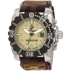 U.S. Marine Corps WA123 Men's Armor Swiss Tritium Sport Beige Dial Brown Nylon Strap Dive Steel Watch