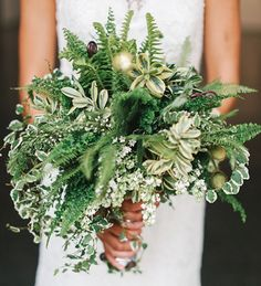Modern Wedding Inspiration with Lots of Ferns by Alice Hu Photography - via greenweddingshoes