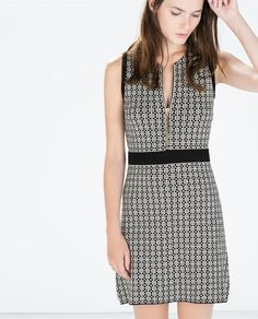Image 1 of MICRO-JACQUARD DRESS WITH ZIPS from Zara