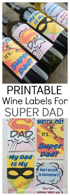 Father's day gifts don't need to be flash and expensive. For an awesome DIY gift, a bottle of his favourite wine complete with a super dad wine label is all that you need. With 4 awesome designs to choose from, he could have one or all four. This would be a great father's day gift from the kids, or to give to your own dad. You are never too old to be told you are super dad!