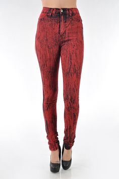 Holiday Red Acid Wash High Waist Destroyed Skinny Jeans!