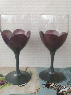 Dark Pink Flower Wine Glasses Hand Painted by FunctionalyEnchanted, $18.00