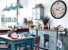 """Duck Egg Blue, Teal and Red Kitchen Idea from MyKitchenAccessories' Guide, """"What Colours Go With Duck Egg Blue?"""" #DuckEggBlueKitchen #MyKitchenAccessories"""
