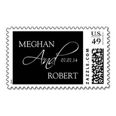 Elegant Wedding Postage Stamps Black Names and Date